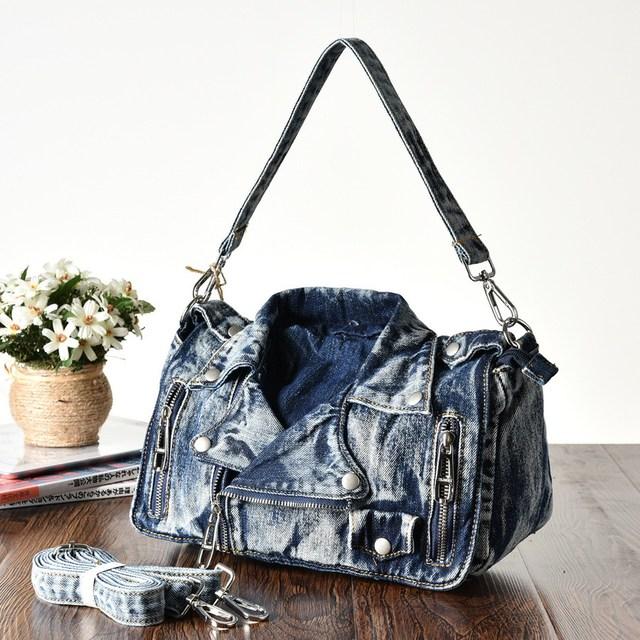 KISS KAREN Vintage Fashion Denim Women Bag Jeans Women Shoulder Bags Cowboy Handbags Women's Crossbody Bags Satchels Lady's Bag