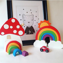 INS Nordic Wooden Mushroom Rainbow Building Blocks for Baby Kids Room Decoration Ornaments Wood Toys Gifts Photography Props ins nordic style wooden rainbow building blocks for baby room decoration ornaments wood educational toys gifts photography props