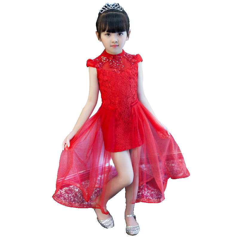 2017 New Arrival Hot-sales Red Color Children Girls Princess Lace Dress For Wedding Birthday Party Kids Pageant Dress Costume 2017 new arrival summer baby girls white color princess dress children kids birthday wedding party dress pageant sweet dress