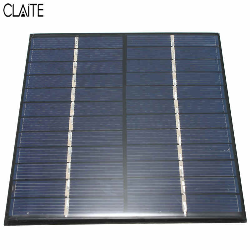 CLAITE High quality 12V 2W 160mA Polycrystalline silicon Mini Solar Panel module Cell  For Charger DC Battery DIY 136x110mm 100w folding solar panel solar battery charger for car boat caravan golf cart