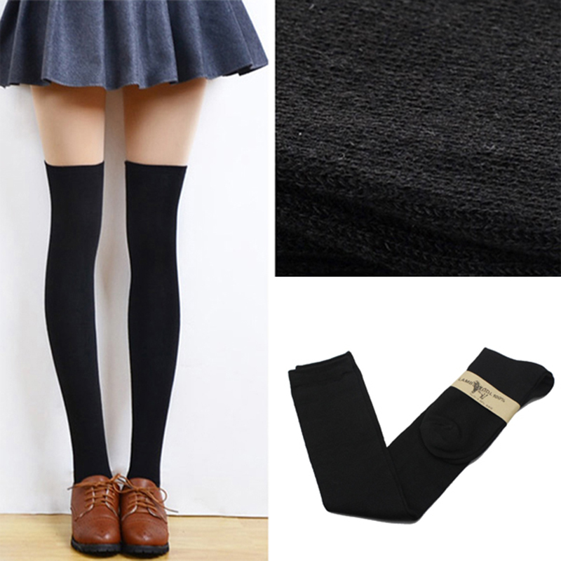 2015 New 4 Colors Fashion Women's Socks Sexy Warm Thigh High Over The Knee Socks Long Cotton Stockings For Girls Ladies Women