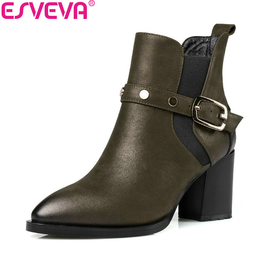 ESVEVA 2018 Women Boots Classical Synthetic/PU Square High Heels Ankle Boots PU+Real Leather High Heel Ladies Boots Size 34-43 esveva 2018 women boots zippers black short plush pu lining pointed toe square high heels ankle boots ladies shoes size 34 39