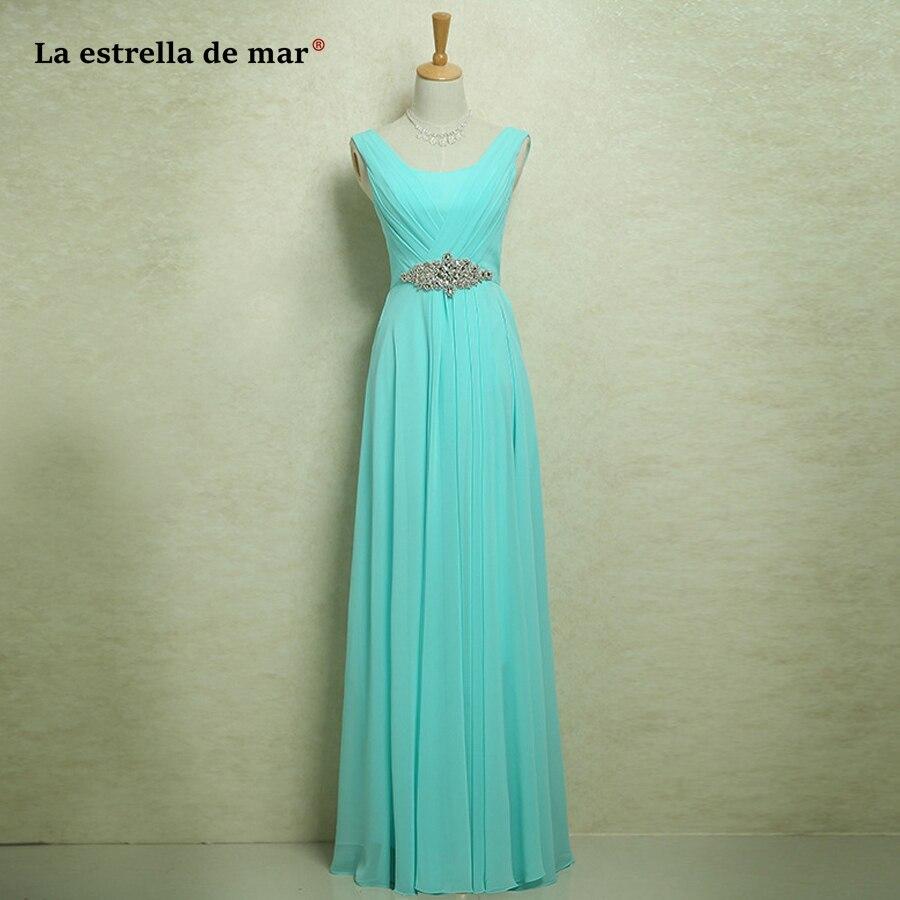 Vestido madrinha2019 nouvelle mousseline de soie cristal une ligne turquoise profonde bordeaux violet royal bleu rose robe de demoiselle d'honneur longue pas cher