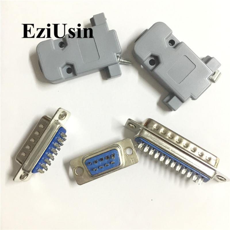 RS232 DB9 DB15 DB25 Male Female Socke Connector  Serial VGA 2 Rows Solder Type Plug D-SUB Plastic Shell Holder 10pcs