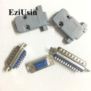 RS232 DB9 DB15 DB25 Male Female socke connector Serial VGA 2 Rows Solder Type Plug D-SUB Plastic shell Holder 10pcs(China)