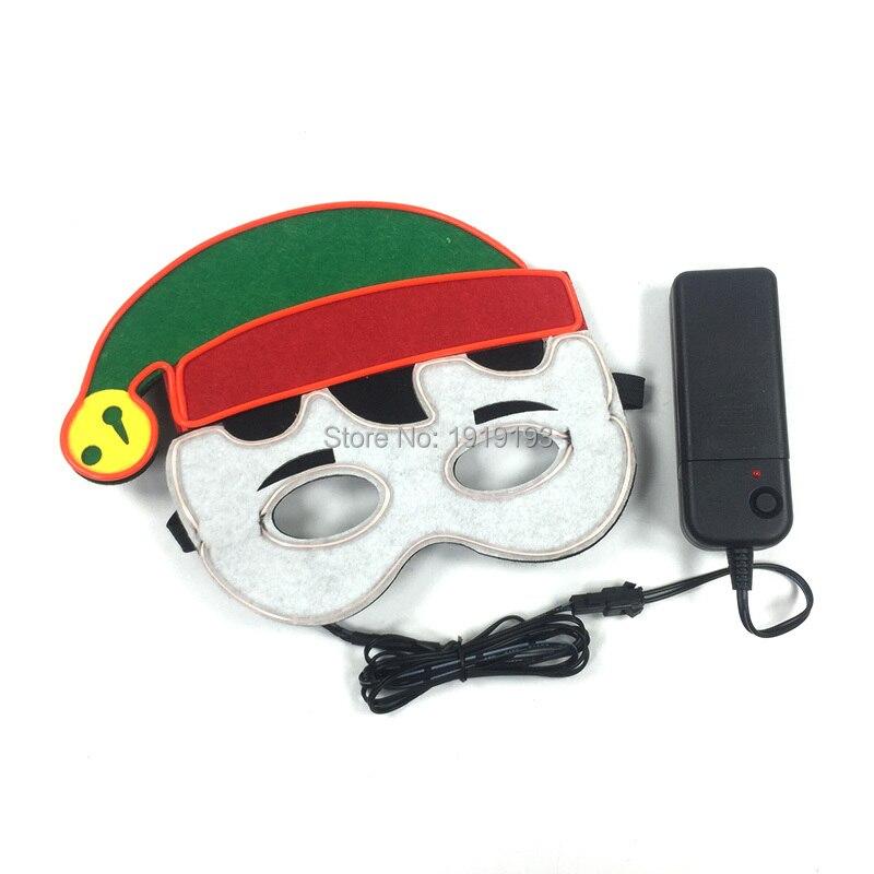Music Active Cosplay Santa Light Up Mask Glowing Party Lights Neon Rope EL Santa Baby Cute Mask Rave Costume Masquerade Favors