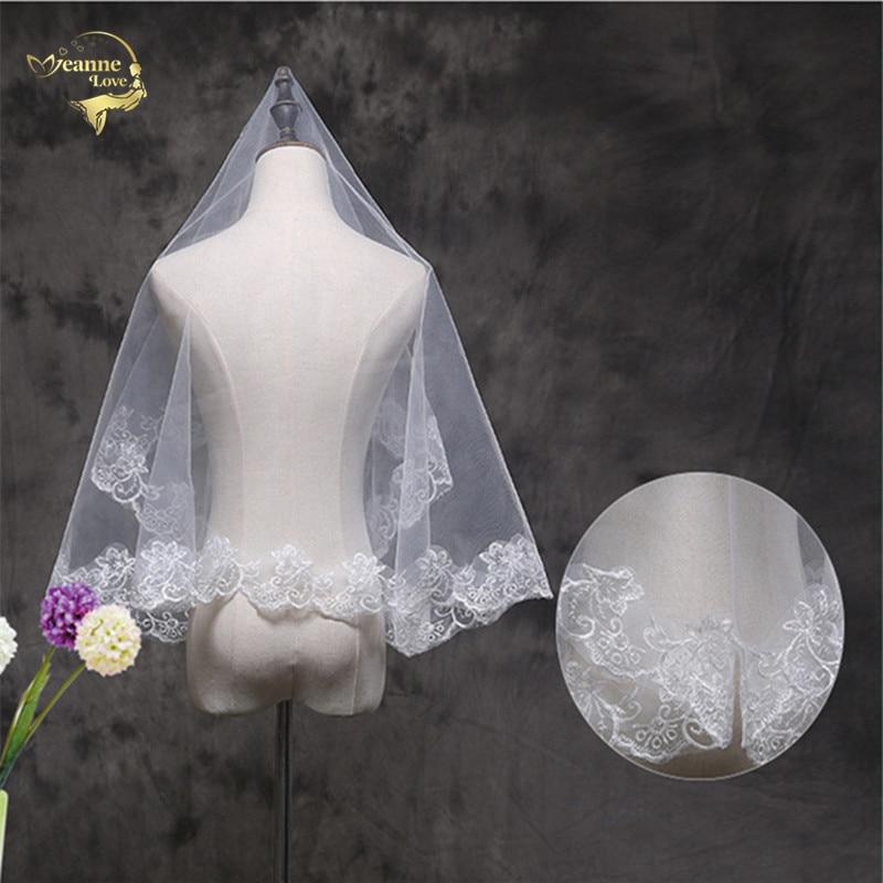 150 Wholesale  Wedding Accessorie Soft Tulle New Arrival White Veil Fingertip Wedding Bridal Veil Lace Edge Voile Mariage VI3289