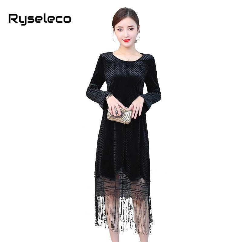 Женские бархатные платья больших размеров, женское элегантное винтажное клетчатое велюровое лоскутное платье с бахромой и длинным рукавом