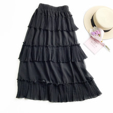 Chiffon High Quality 2019 New Women Lace Skirt Hollow Out White Black Spring SKirt Plus SIze skirts