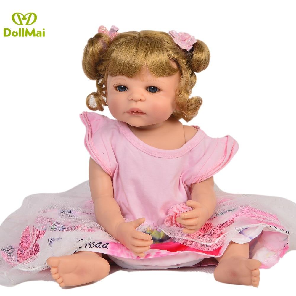 Réel 57 CM Reborn bébé poupées fille corps entier SIlicone réaliste bébés poupée bain jouet nouveau-né bébés Bonecas Bebes Reborn Menina - 6