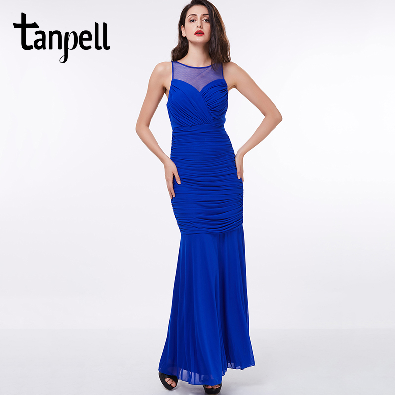 Tanpell Scoop Evening Dress Cheap Royal Blue Ruched Floor Length Sleeveless Straight  Red Dress Formal Prom Long Evening Dresses