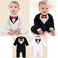 Мальчик ползунки с длинным рукавом весна осень джентльмен комбинезон с галстук-бабочка 2016 черно-белые 2 цвета baby boy одежда