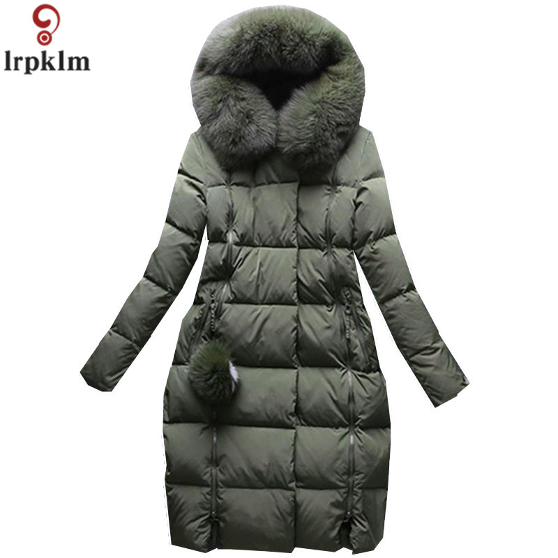 Brand Womens Winter Down Jacket 2018 High Imitation Fox Fur Collar Lady Quality Cotton Clothes Long Section Of Ms Down Jacket