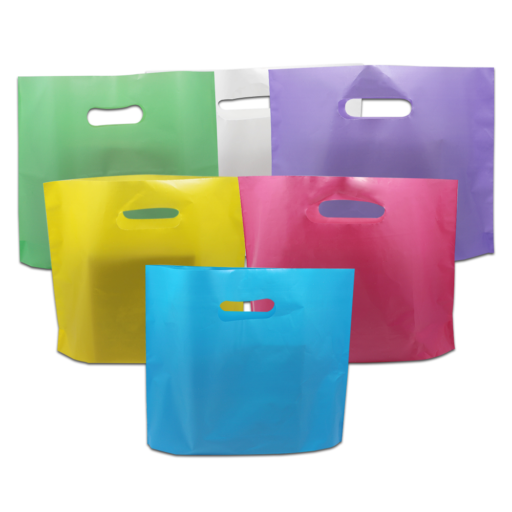 500pcs/Lot DHL 4 Sizes Plastic Boutique Apparel Carry Packaging Bag With Handle Craft Gift Shopping Package Bags Colorful Pouch