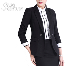 2017 Women Work Office Suit jaqueta feminina Lady Business Outwear Solid Uniform Azul Long Sleeve Blazer