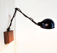 Vintage industrial loft personality simple wooden iron E14 wall light lamp with switch bedside reading lamps bedroom office