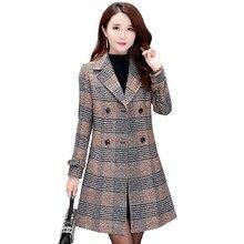 Womens Spring Jacket 2019 Korean Slim Autumn Woolen Coat Ladies Plus Size 3XL Plaid Casual Mid Long Female Outerwear N864