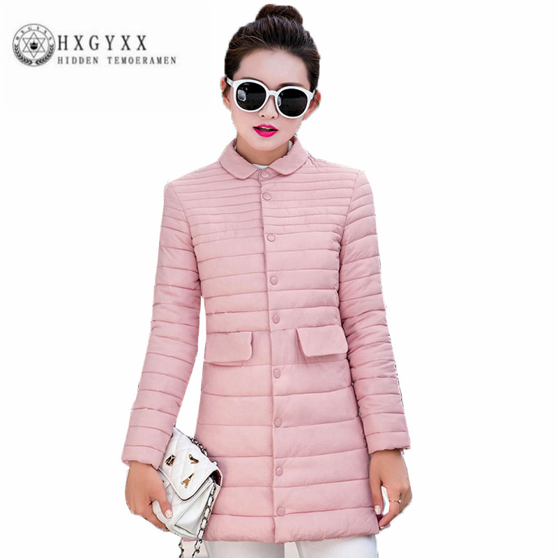 Big yards Winter Women Cotton Coat Single breasted lapels Fashion Outerwear Han edition Long sleeve pure color thin parka ZX0035 free shipping boruoss 2015 new fashion winter cotton coat women short single breasted coat boruoss w1292