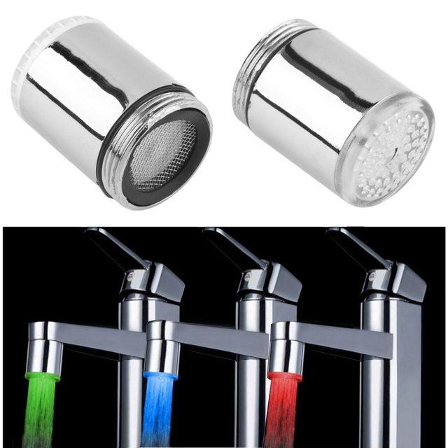 Led 蛇口温度センサーキッチン LED ライトウォーター蛇口タップヘッド RGB グローシャワーストリーム浴室 3 色変更ドロップ船
