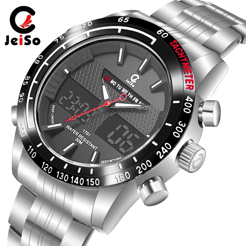 Luxury Brand Jeiso Men Fashion Sport Watches Men's Quartz Digital Analog Clock Man Full Steel Wrist Watch relogio masculino