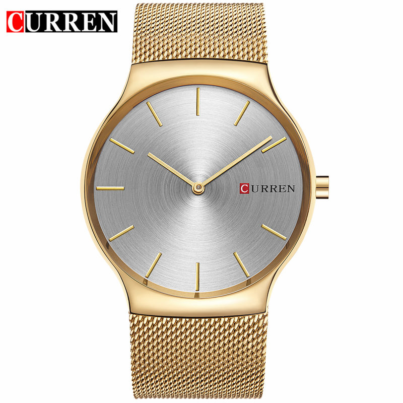 Curren Mens Watches Top Brand Luxury Gold Full Steel Quartz Men Watch 2017 Fashion Business Male Wristwatches Relogio Masculino curren watches mens luxury brand black full steel waterproof analog quartz watch men fashion casual business wristwatches 8050