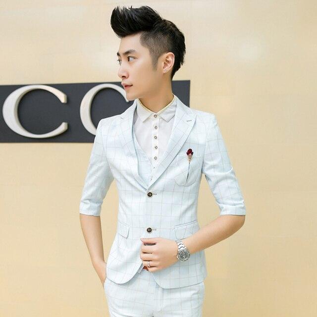 26170c132a15 2016 Summer Men Plaid Suit White Blue Check Suit For Men Dress Suit  Business Party Prom