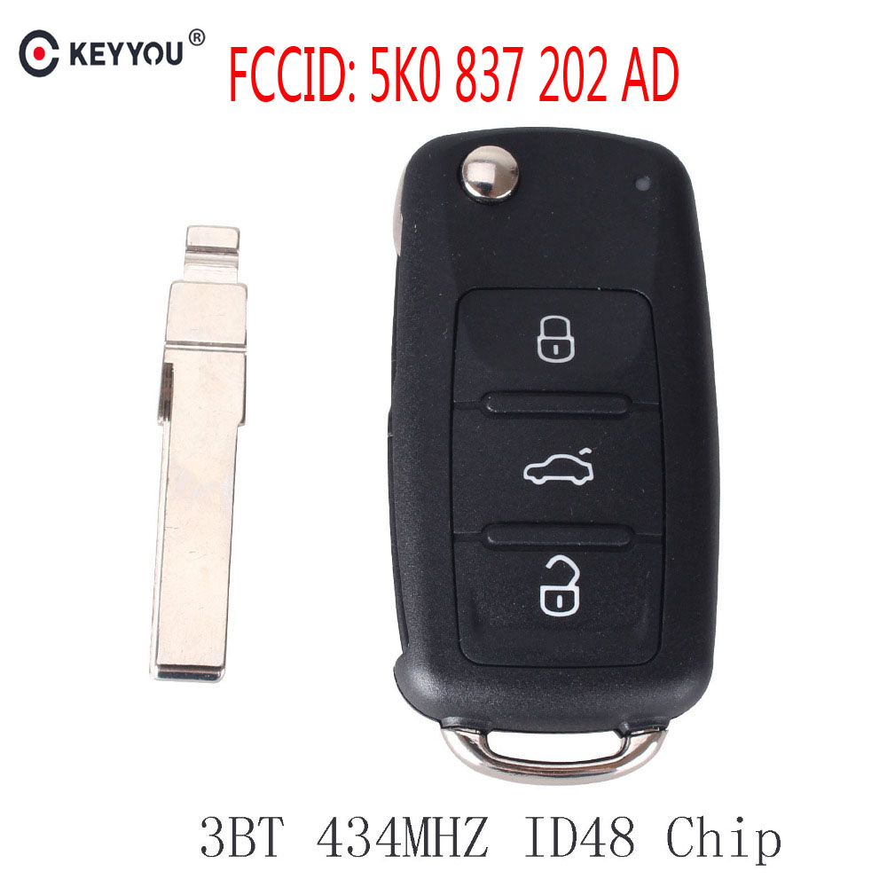 KEYYOU Remote key 434MHz ID48 Chip for VW Volkswagen GOLF PASSAT Tiguan Polo Jetta Beetle Car Keyless 5K0 837 202AD 5K0837202AD replacement folding key case shell for vw golf 7 no chip for volkswagen remote keyless shell auto parts key case with blade