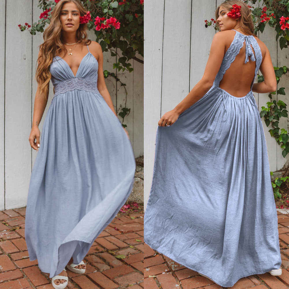 eb3917c940 ... Women Boho Floral Maxi Long Dress Summer Evening Party Beach Sleeveless  Strapless Lace Solid Backless Ankle ...