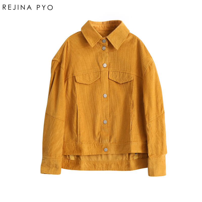 RejinaPyo 2018 Spring New Arrival Women Yellow Corduroy Vintage Short Coat Covered Button turn-down Collar Casual Outerwear