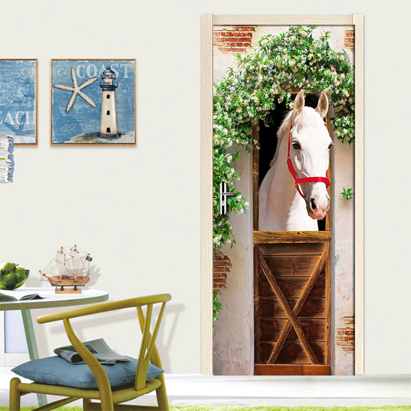 Custom White Horse Photo Wallpaper Modern Living Room Bedroom Door Mural Sticker PVC Waterproof Home Decorative 3D Wall Paper canvas stereoscopic decorative wall sticker 6pcs