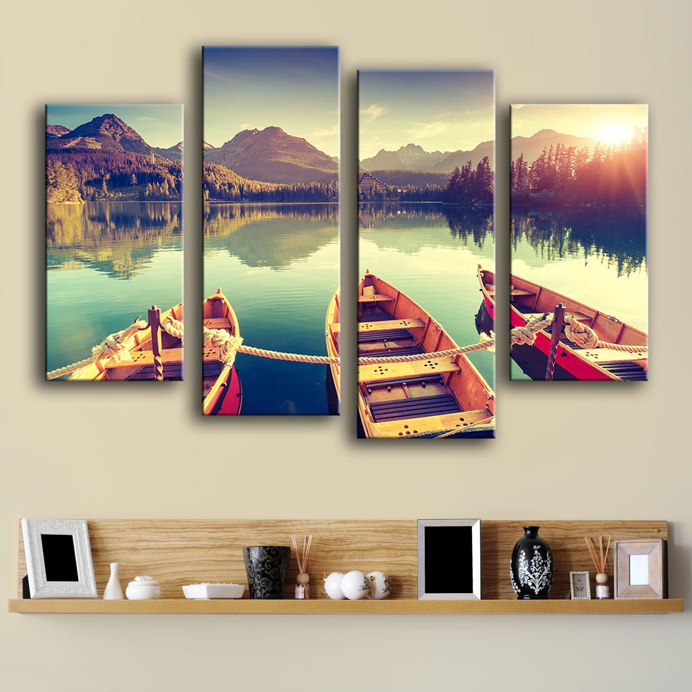 Hot Sale 4 PCS Sunset On The Lake Boot Unframed Wall Picture Art Wall Painting Home Decoration Printed On Canvas Free Shipping