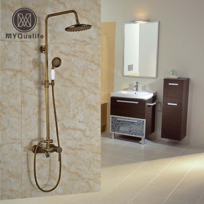 Luxury wall mount 8 Rainfall Shower Mixer Faucet Single Handle Bath Shower Water Taps Brass Antique china sanitary ware chrome wall mount thermostatic water tap water saver thermostatic shower faucet