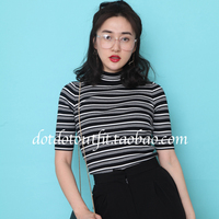 2016 Spring New Arrival Women Vintage Black And White Striped Knitting T Shirt Turtleneck Half Sleeve