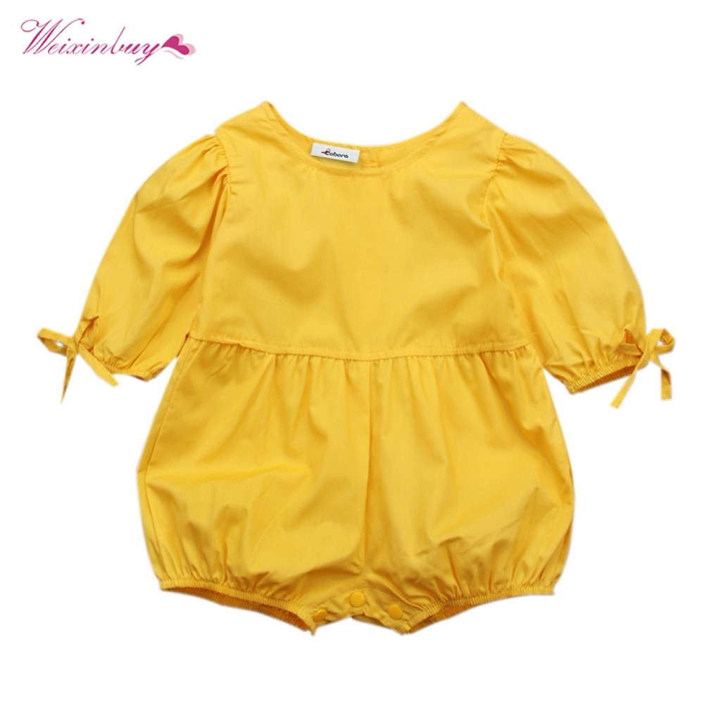 Baby Girls Rompers Solid European and American Puff Sleeves Onesies Cuffs Bows Decorated Rompers