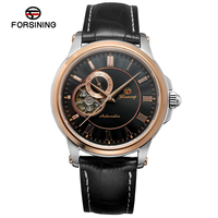 FORSINING Mechanical Watches Men Leather Strap Skeleton Gold Automatic Mechanical Mens Watches Waterproof Self Winding Clock