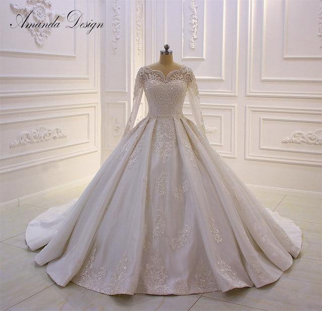 Amanda Design lazo para vestido de novia apliques perlas vestido de novia con manga larga