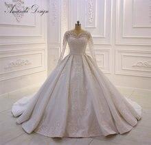 Amanda Ontwerp Bridal Dress Lace Applique Parels Trouwjurk Met Lange Mouwen