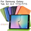 T715 Funda Folding Stand Leather Case For Samsung Galaxy Tab S2 8.0 T710 T715 Cover + Screen Protector +Good Package