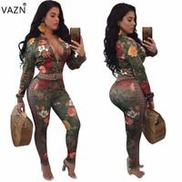 VAZN Fashion 2017 Sleeve Hot Sale Women Costume Summer Bodycon Zipper 2 Piece Jumpsuits Print Party