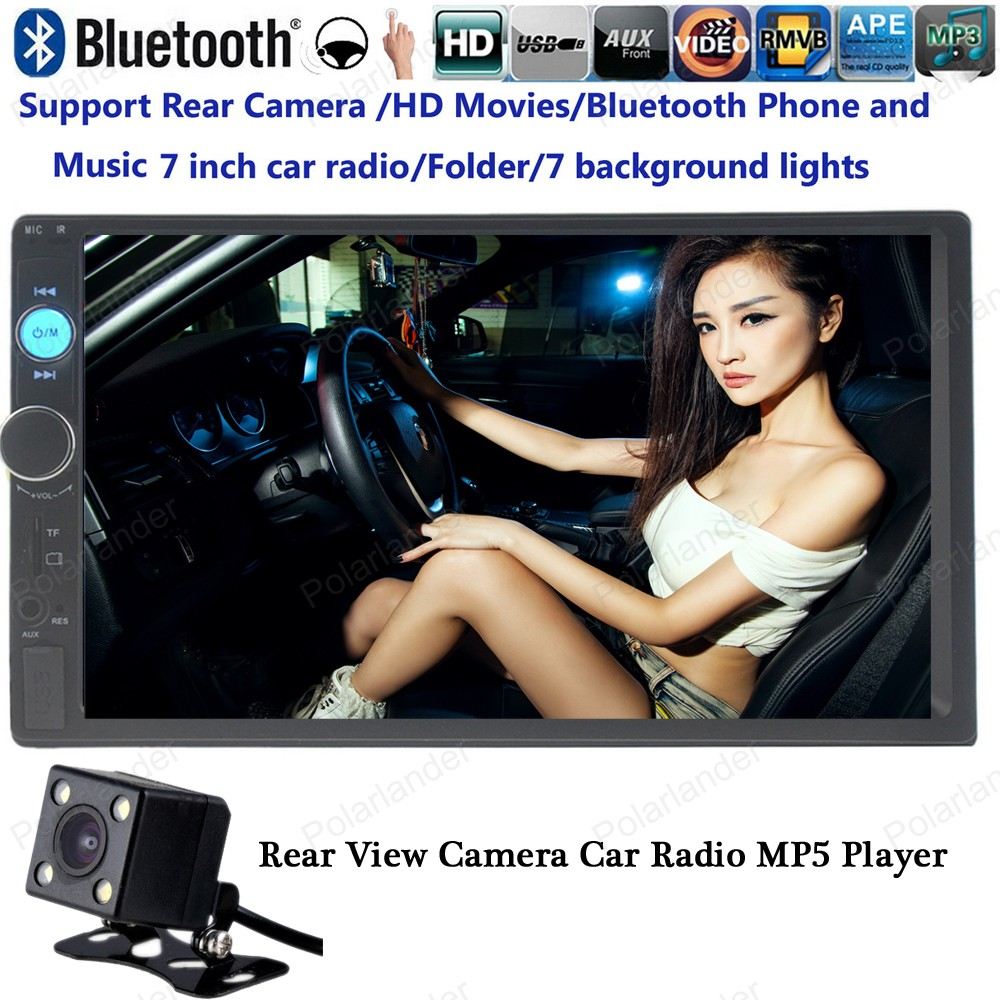 7 Inch 2 Din Car MP5 MP4 video Player radio HD Bluetooth stereo USB/FM/TF with rear camera steering wheel control touch screen