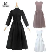 72d11578c ROLECOS victoriano vestido Medieval vestido de algodón de las mujeres  Lolita negro vestido Retro vestido Vintage