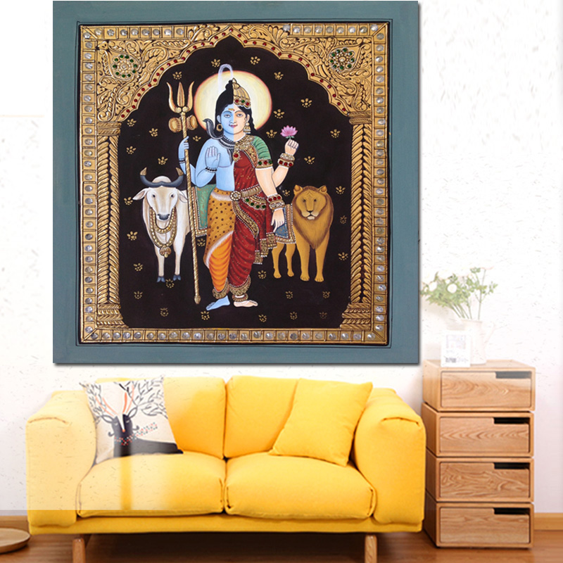 Abstract Lord Shiva Portrait Oil Painting India Buddha Hindu Gods HD Prints and Posters Modern Wall Picture For Room Home Decor