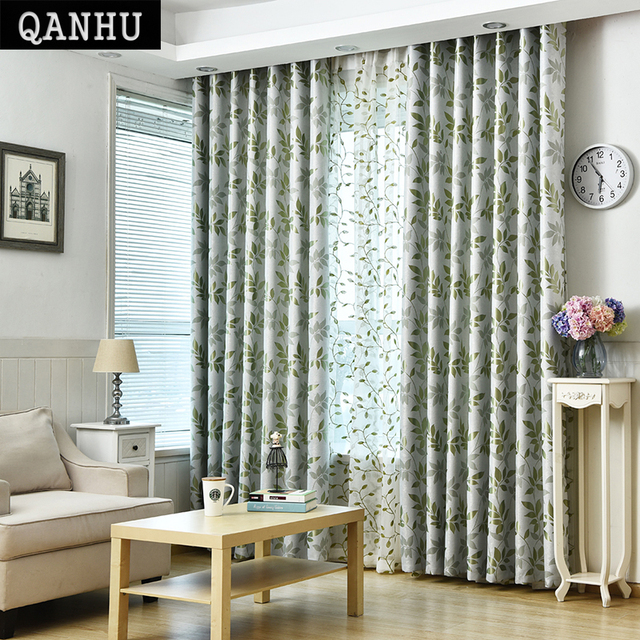 QANHU Modern Cotton Linen Green Window Curtains For Living Room Quality  Free Shipping Bedroom Curtain Door