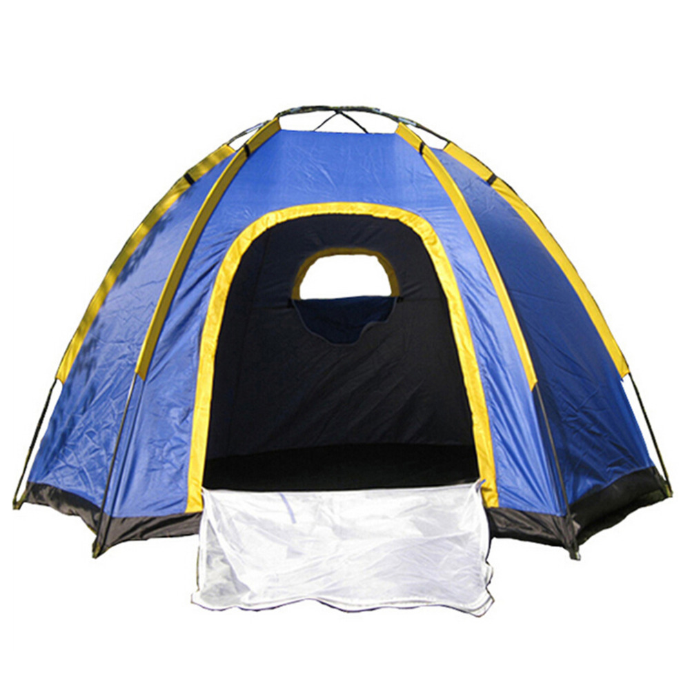 Waterproof Hexagonal Large Camping Hiking Pop up Tent Outdoor Base Camp Blue Top Quality outdoor double layer 10 14 persons camping holiday arbor tent sun canopy canopy tent