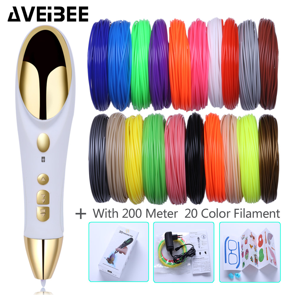 Original 3D Pens Drawing Printing Pen Set With 10/20 Color PLA Filament Caneta 3 d Creative Scribble Toy For kids Birthday Gifts eu adapter 3d printing pens 3 d drawing pen 3d model with 200m 20 color pla plastic materials creative toy gift for kids