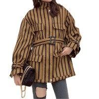 New 2018 Stripe Big Pocket Jacket Women Long Oversize Harajuku Bomber Jacket Basic Coat Women Fashion Bomber Jacket Women