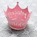 12 Unids/set Princess Crown Diseño Estilo Vid Encaje Taza de la Torta Envolturas De Papel Fiesta de Cumpleaños Decoración