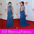 Нина добрев синий обнаженная платье кружева шифон знаменитости вечернее платье длинные платья выпускного вечера vestido де феста лонго асуль