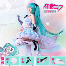 2019 New VOCALOID Hatsune Miku Cosplay Costume Cos Racing suits Lovely Top and Skirt full sets