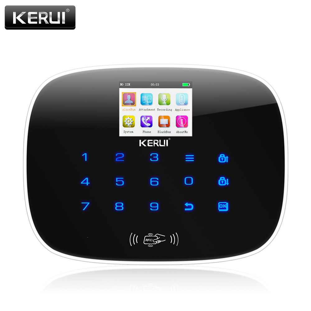 KERUI G19 GSM RFID Card Touch Screen Android IOS APP remote control Alarm System Home Security Alarm Control Host Panel kerui g19 android ios app control home security gsm alarm wireless remote control with fire smoke detector
